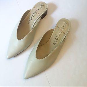 Sole Society Marlessa Ivory Block Heel Mules 9.5